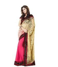 Buy Pink brasso net saree with blouse brasso-saree online