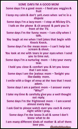 Some Days I'm A Bad Mom (A Poem)