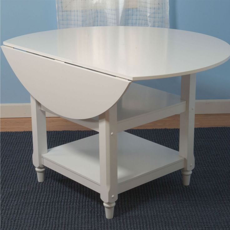 48 Inch Round Dual Drop Leaf Dining Table In White Wood Finish