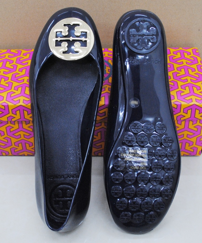 Tory Burch METAL Jelly Rubber Flat shoes NAVY/GOLD #ebay #toryburch