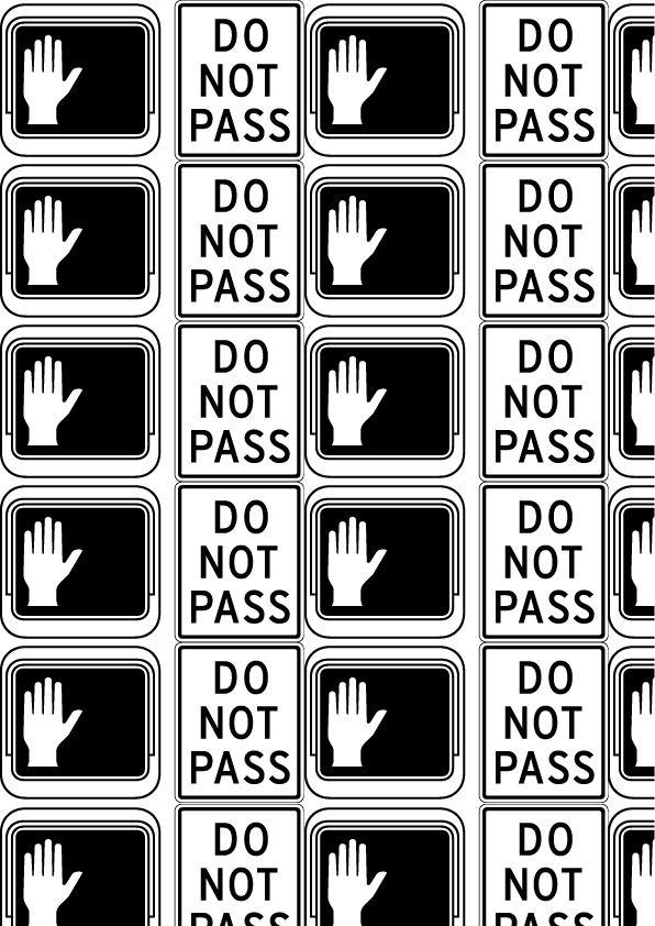 Interstate, Tobias Frere-Jones, 1993. Pattern 3 (bn)  'Riconoscibile': Interstate PI. Questi glifi rappresentano la segnaletica stradale americana e per questo sono facilmente riconoscibili.