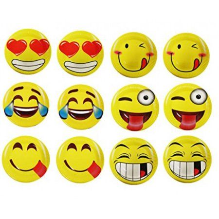 60 Emoji Party Paper Plates 7 Inch Emoji Fun Party Supplies and Party Favors. Pack of 60 Yellow Emoji Themed Smile Faced Dessert Plates. - Walmart.com
