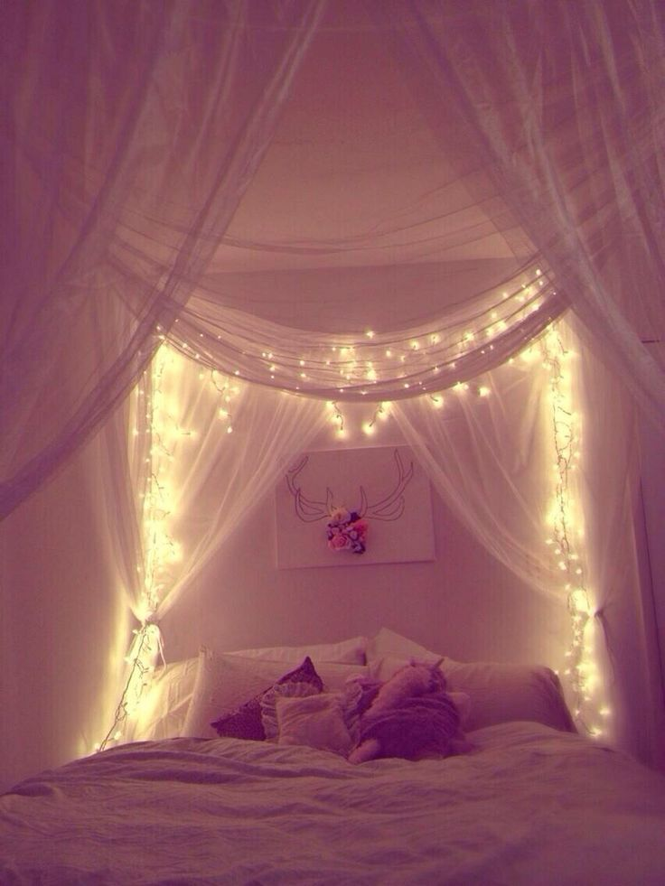 canopy and lights bedroom decor pinterest