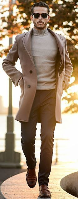 Turtle neck T-shirt Layered with Overcoat