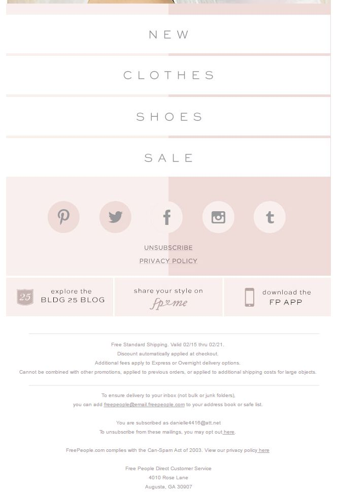 Free People email footer 2016                                                                                                                                                                                 More