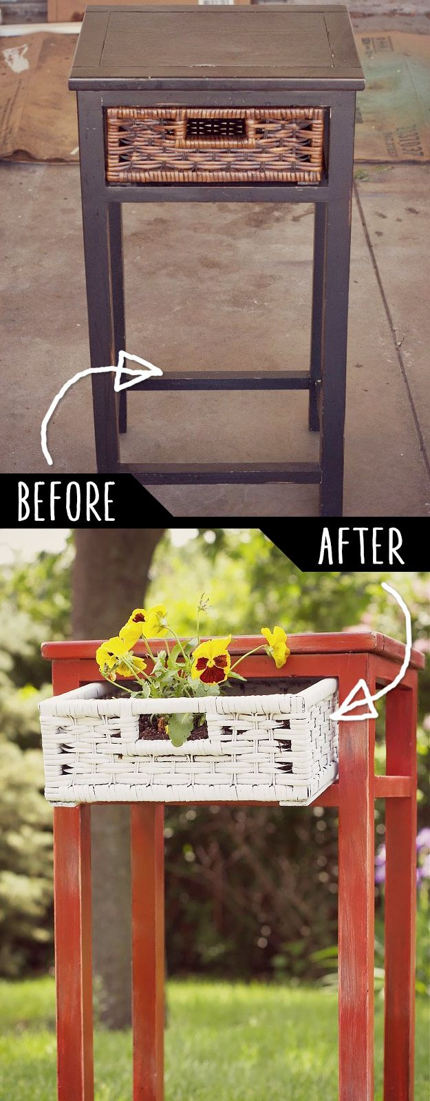DIY Furniture Hacks |  Upcycled Side Table into Planter  | Cool Ideas for Creative Do It Yourself Furniture Made From Things You Might Not Expect - http://diyjoy.com/diy-furniture-hacks