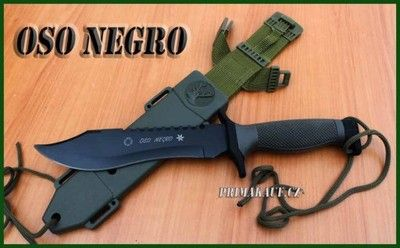 2656 Nůž Jungle KING II Oso Negro - Nůž Jungle KING II Oso Negro -Masivní lovecký nůž do džungle, černé provedení, zelená plastová pochva s nylonovým závěsníkem. - Zajímavé pilové zubení čepele nože. pro použití jako pila, např. mna kosti. - Rozměry: celková délka 31cm, čepel 165mm, váha bez pouzdra 330g, s pouzdrem 420g. - Praktické zapínání pochvy a bezprůtahové řešení připnutí na opasek. - Vyrobeno z ocele tvrdosto dle Rockwella C55/58 - 440 callay  Návod k použití a údržbě: Nůž…