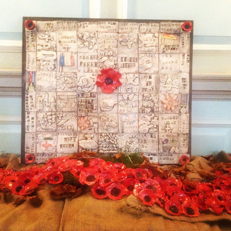 Ceramic tile and poppies installation with Berryhill Primary School.