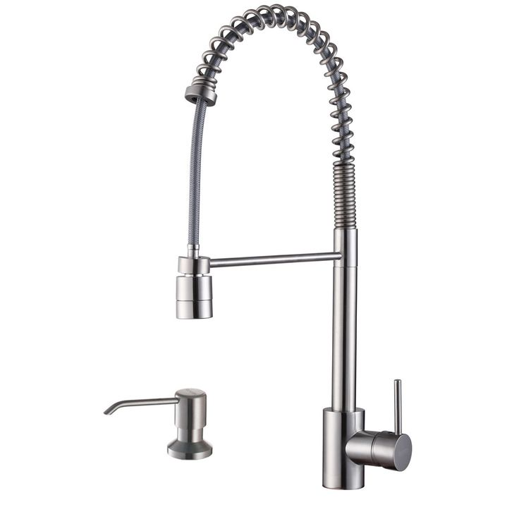 Ruvati Stainless Steel (Silver) Commercial Style Kitchen Faucet with Soap Dispenser (RVF1210K1ST)