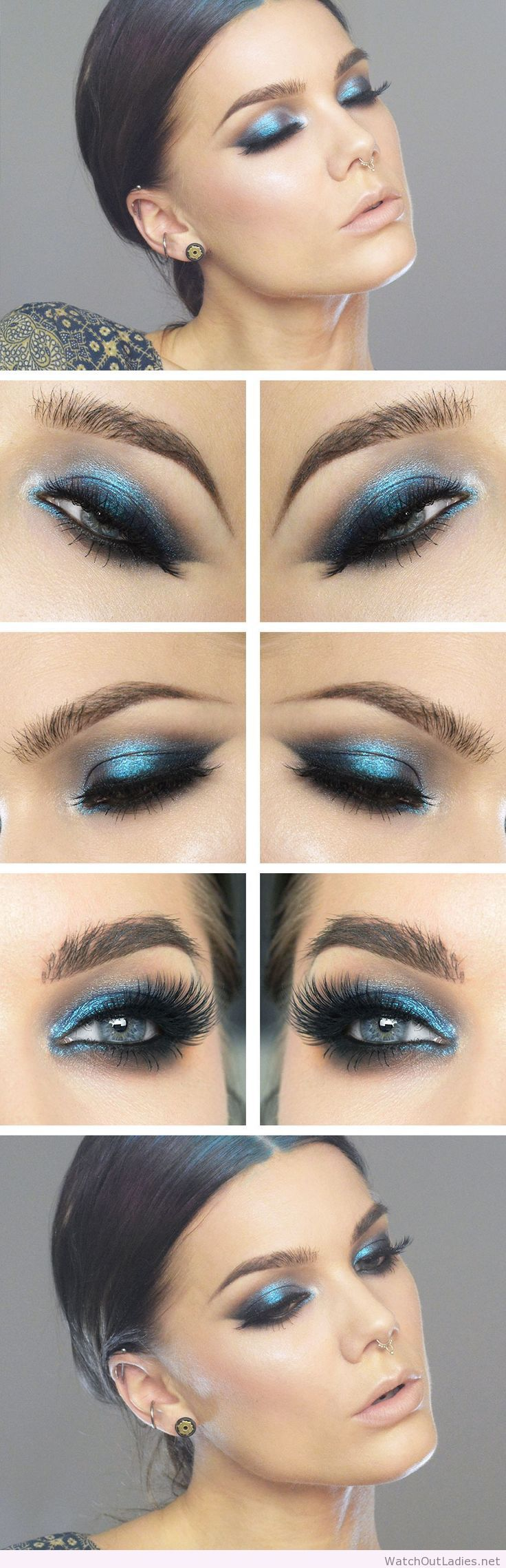 Linda Hallberg awesome blue eye makeup with glitter