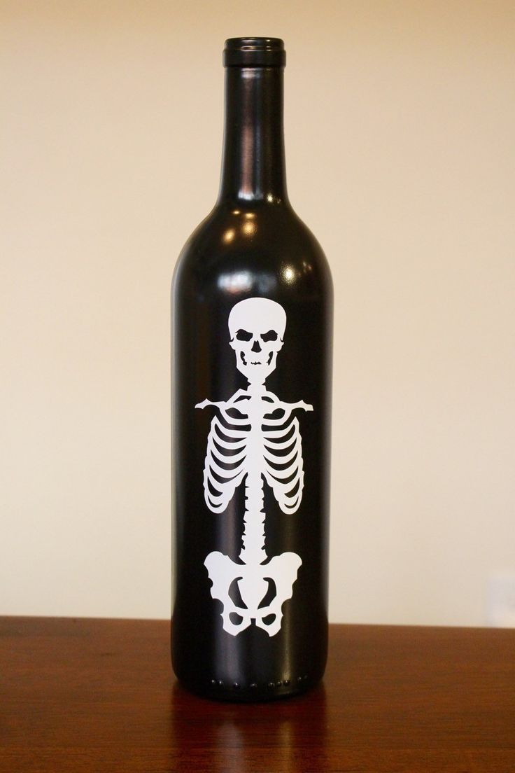 Skeleton Wine Bottle, Halloween Wine Bottle, Halloween Decorations, Trick or Treat, Up-cycled Wine Bottle by BriEllaCreations on Etsy