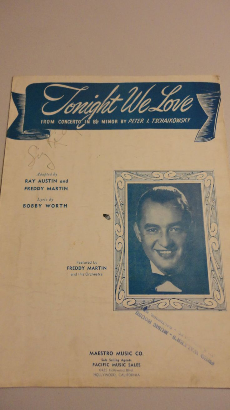 Tonight We Love, Peter Tschaikowsky, Sheet Music, FREE SHIPPING by TheRecycledGreenRose on Etsy