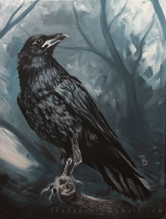 Raven oil painting PRINT, painted raven, raven art print, traditional painting, black bird, blue painting, thubakabra
