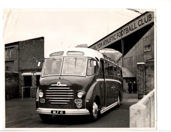 Charlton team coach outside the Valley