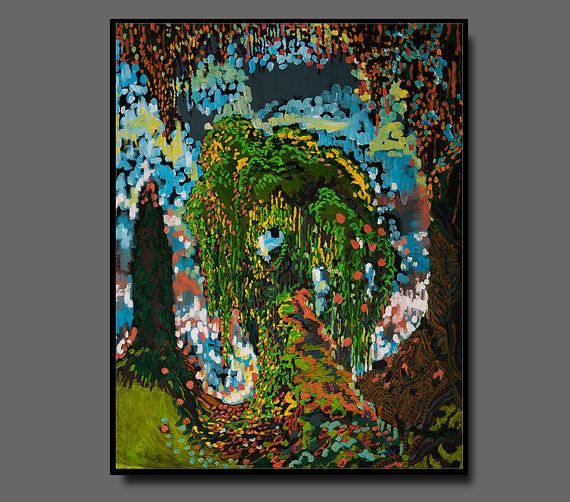 Colorful landscape painting canvas PRINT by KissEveArt on Etsy, $30.00