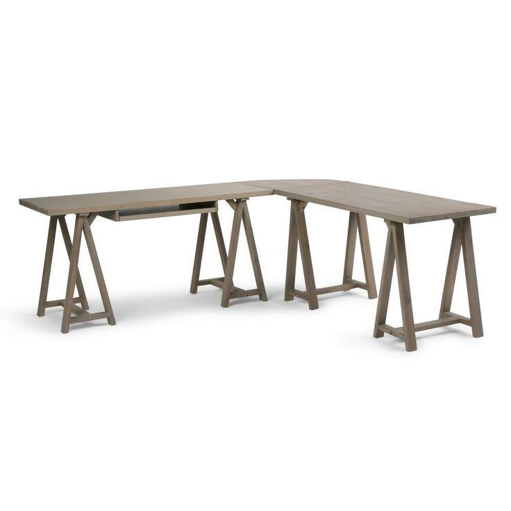 Simpli Home Sawhorse Massivholz Modern Industrial 84 Zoll Breiter Moderner L Formiger Eckschreibtisch I L Shaped Corner Desk Simpli Home Corner Desk