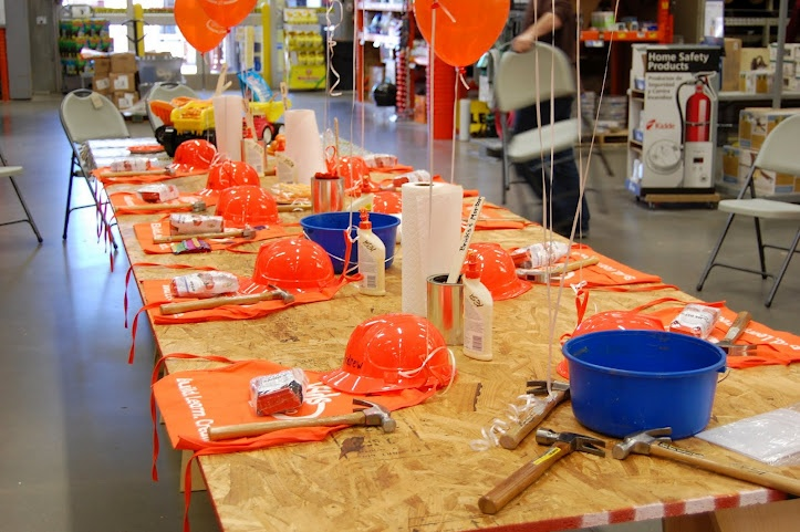 home depot construction party table