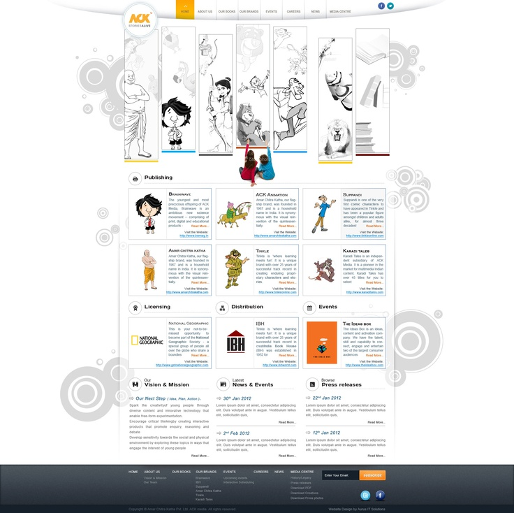 Animated web design for India's largest kids book publishing company Amar Chitra Katha Media @ www.ack-media.com
