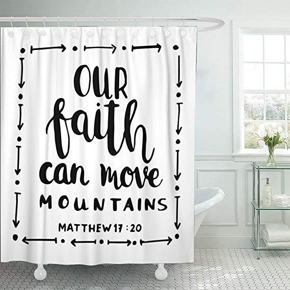 Tompop Shower Curtain Our Faith Can Move Mountains On White Bible