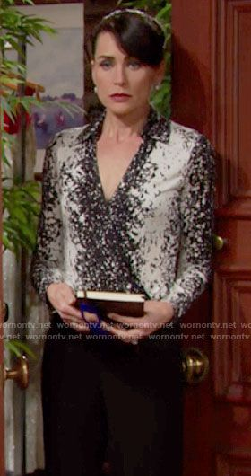 Quinn's black and white splatter printed wrap top on The Bold and the Beautiful.  Outfit Details: https://wornontv.net/64896/ #TheBoldandtheBeautiful