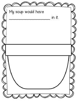 This freebie is a great writing activity. Children can choose what their soup would have in it. They can either dictate their ingredients to you or write it on their own. There is a pot that children can draw their soup in. This can easily be turned into a class book.