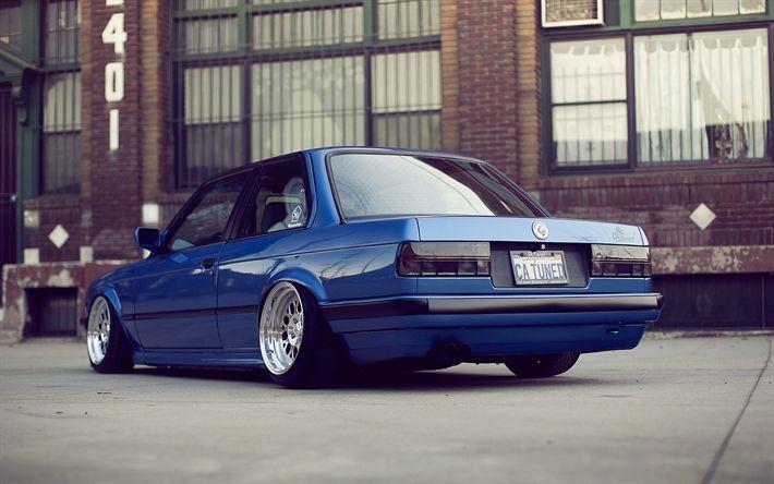 Scarica sfondi posizione, BMW Serie 3, E30, auto tedesche, low rider, blu m3, presa di posizione, BMW