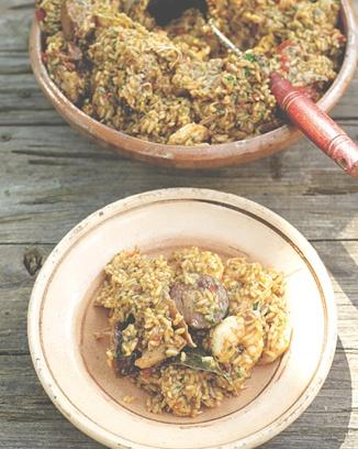 Jamie Oliver chicken, sausage & prawn jambalaya