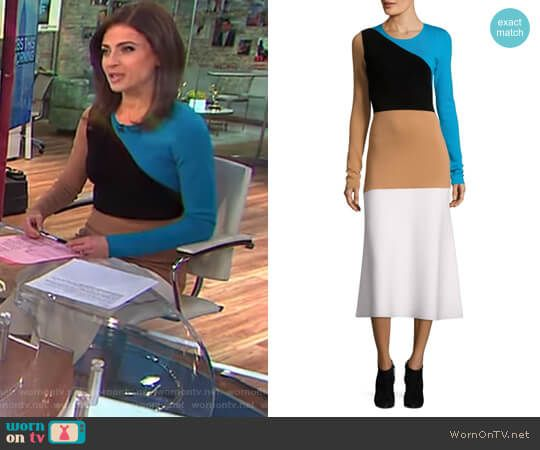 Bianna's colorblock long sleeve dress on CBS This Morning.  Outfit Details: https://wornontv.net/87730/ #CBSThisMorning