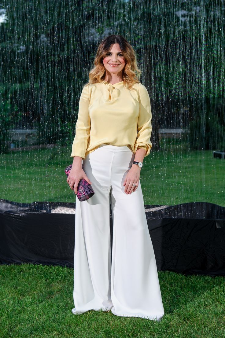 Ellie White wearing http://shop.laurahincu.ro/product/office/yellowish-silk-satin-blouse-calla-design/