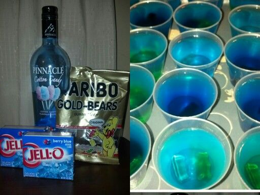 Cotton Candy jello shots!! Berry blue jello, cotton candy vodka and gummy bears for alittle extra flavor and fun.