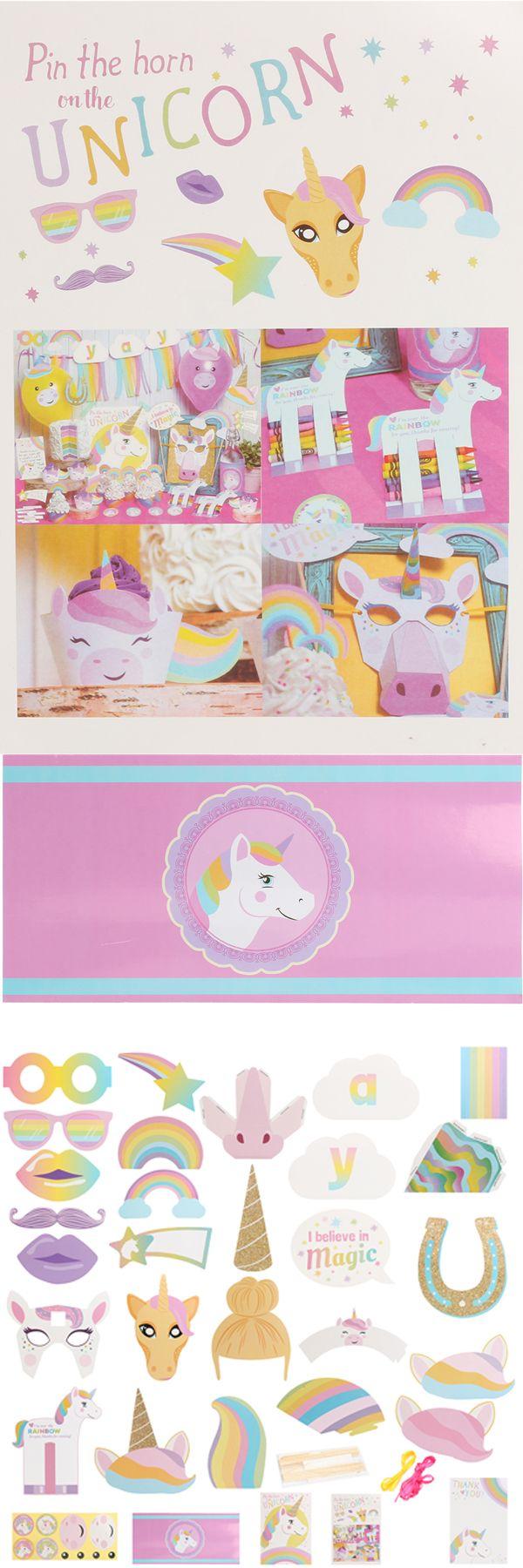 Unicorn Kids Happy Birthday Party Supplies Mask Cake Topper Paper Home Decor Set