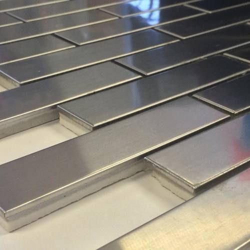 Stainless Steel Tile Brick 1 X 4 Sale Price 9 49 Sq Ft In 2020 Stainless Steel Tile Metal Tile Backsplash Metallic Backsplash