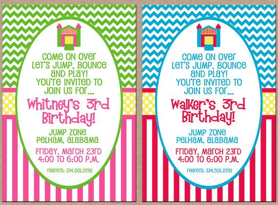 Boy or girl jump bounce house inflatable party birthday invitation