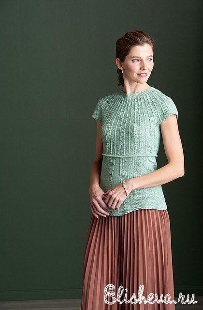 Бирюзовая блузка вязаная спицами