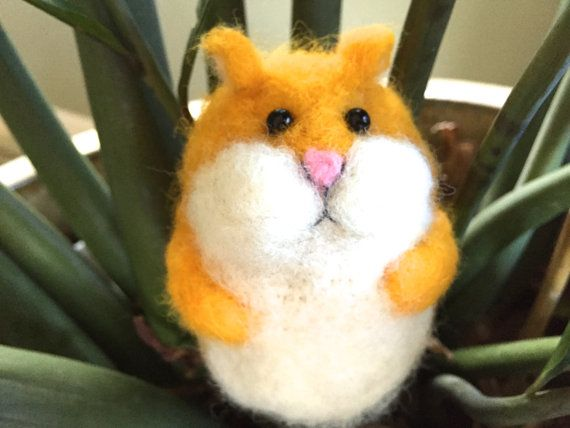 Hamster needle felted hamster toy cute handmade gift by Felt4Soul