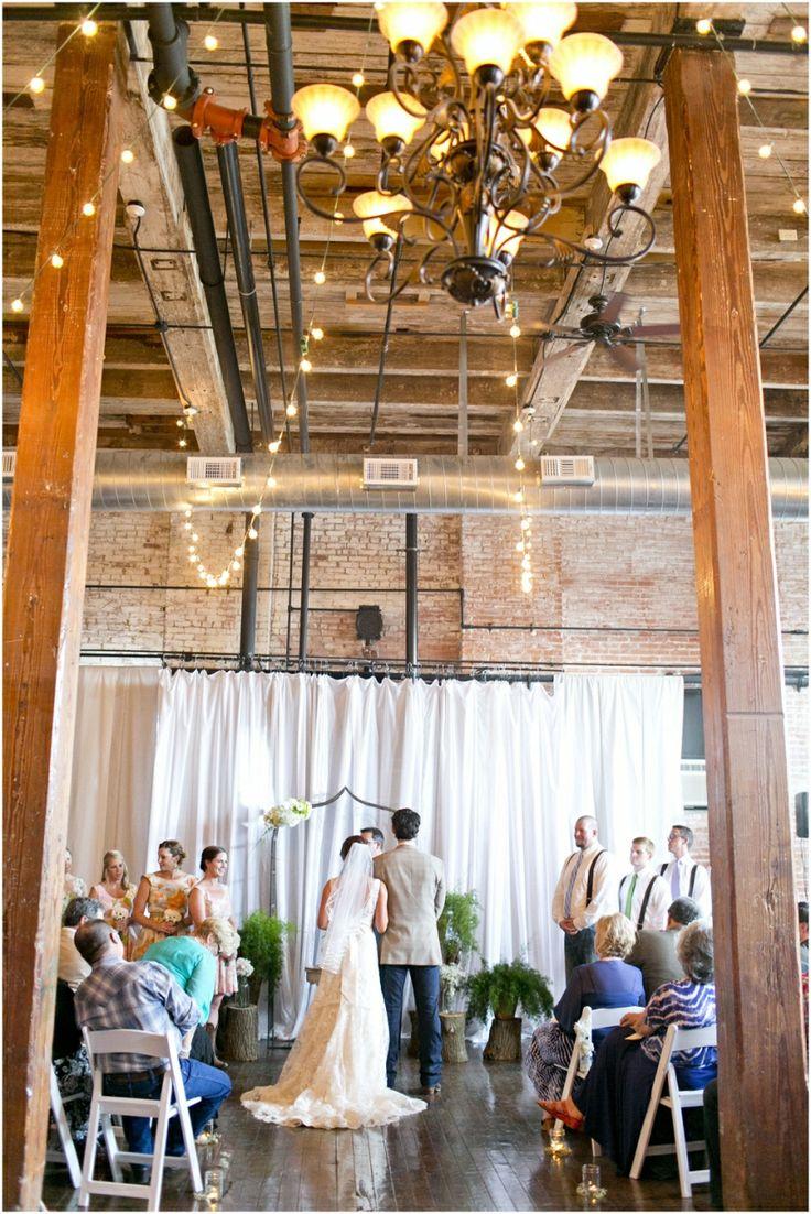 Dallas wedding photographer, indoor wedding ceremony, market light decorations, bride and groom wedding photos, McKinney Flour Mill Wedding » Mary Fields Photography