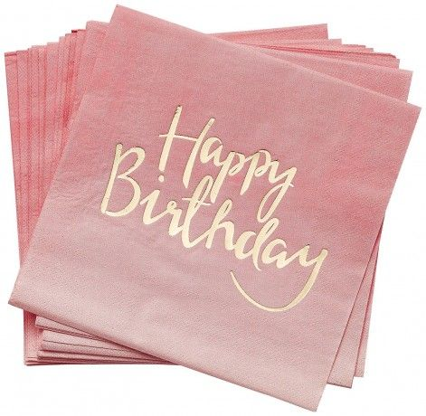 Servietten Happy Birthday in Pink & Gold, 20 Stk.
