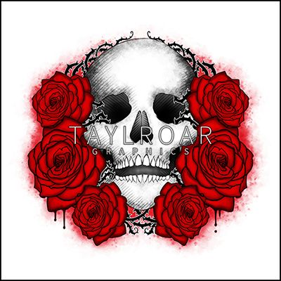 Custom tattoo design: skull overgrown with roses. www.taylroargraphics.com