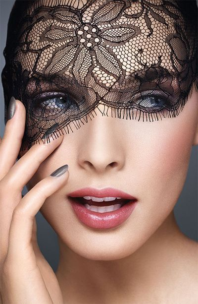 Black Lace: Dior Makeup, Black Lace, Lace Masks, Christian Dior, Pink Lips, White Lace, Nails Polish, Beautiful Faces, High Fashion Makeup