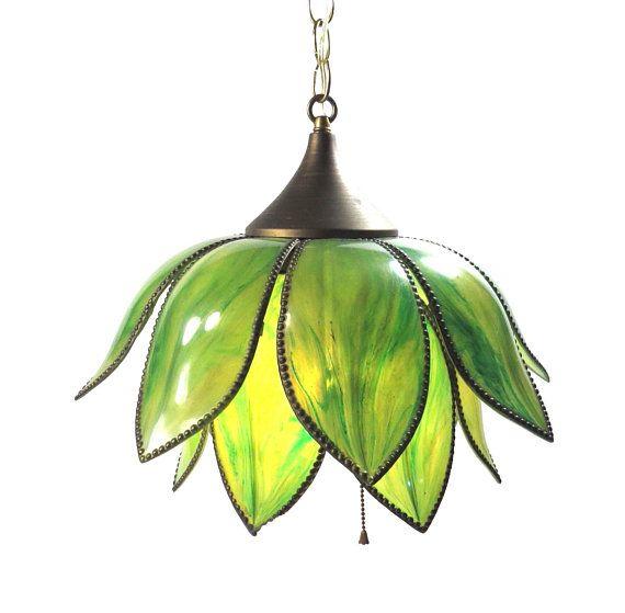 Boho Lotus Flower Swag Lamp Vintage 1960s 1970s Lucite Plastic Tulip Pendant Lighting Swag Lamp Tulip Lamp Vintage Lamps