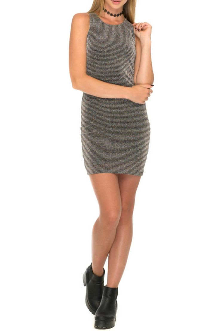 This bodycon dress is perfect for every occasion. In a silver luxe metallic finish figure hugging fit and cutaway shoulders. Finish the look with black boots and choker and let the dress do the talking.  What's On Dress by Motel. Clothing - Dresses - Night Out Providence Rhode Island