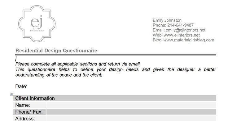 Interior design questionnaire for clients - Questionnaire for interior design clients ...