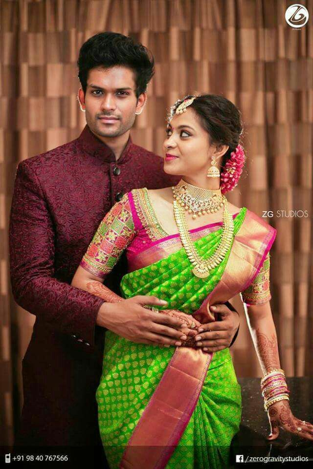 Pretty bride in parrot green n pink...gr8 option 4 engagement