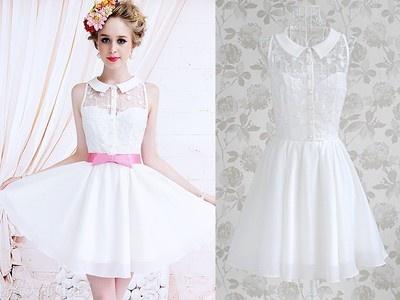 Adorable wedding dress with collar