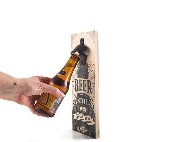 Wall Mounted Bottle Opener Beer Soothes // by DesignAtelierArticle