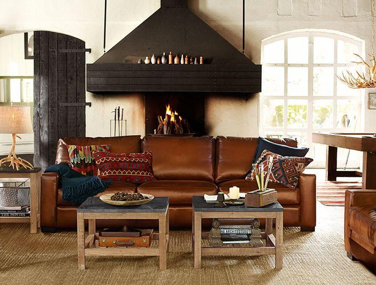 Rustic Lodge Living Room Photo Gallery Design Studio Pottery Barn Decorating