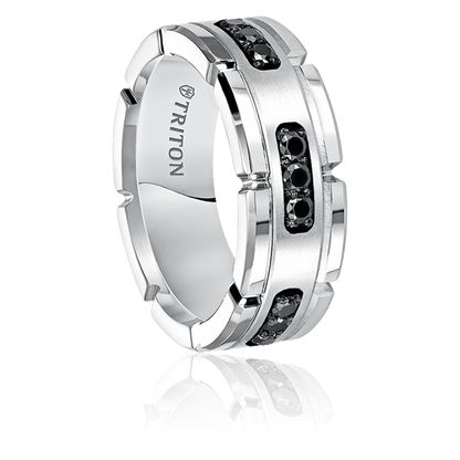 Dazzle up your man with this .31 cwt Genuine Black Diamond Wedding Band Silver/White Tungsten. http://www.mensweddingbands.com/31-cwt-genuine-black-diamond-wedding-band-silver-white-tungsten-m252hc/