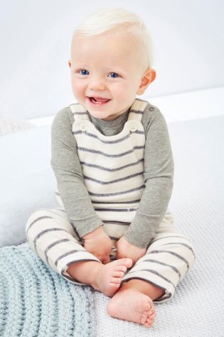 Buy Grey/Ecru Stripe Fleece Dungarees (0mths-2yrs) online today at Next: United…