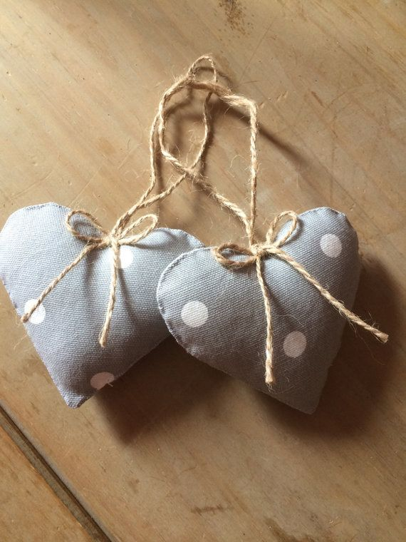Grey Fabric Hearts in a Spotty Cotton Fabric. Pair of Hanging Hearts.
