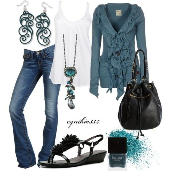 Love!: Shoes, Blue Sweaters, Blue Outfits, Ruffles Cardigans, Colors, Cute Outfits, Necklaces, Casual Outfits, Earrings